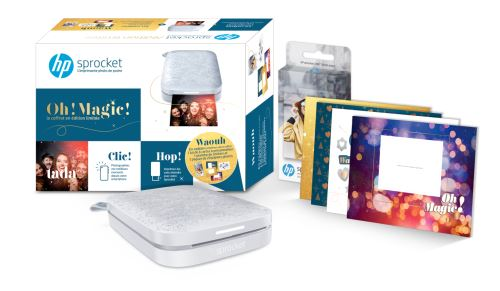 Pack Imprimante Photo HP Sprocket 200 + 1 kit de 6 cartes à personnaliser + 1 planche de stickers + 20 papiers photo à 99,99 € sur la FNAC