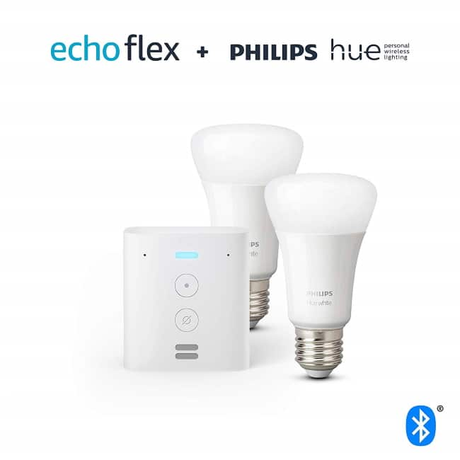 Echo Flex + 2 ampoules LED Philips Hue à 34,99 € sur Amazon