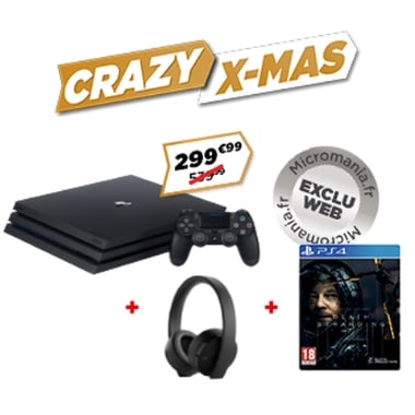 Pack PS4 Pro + Death Stranding + casque Gold à 299,99 € sur Micromania
