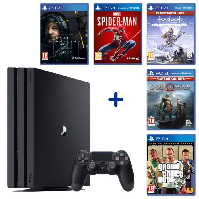 Pack PS4 Pro 1 To Noire + Marvel's Spider-Man + Death Stranding + God of War + GTA V Edition Premium + Horizon Zero Dawn Complete Edition sur Cdiscount