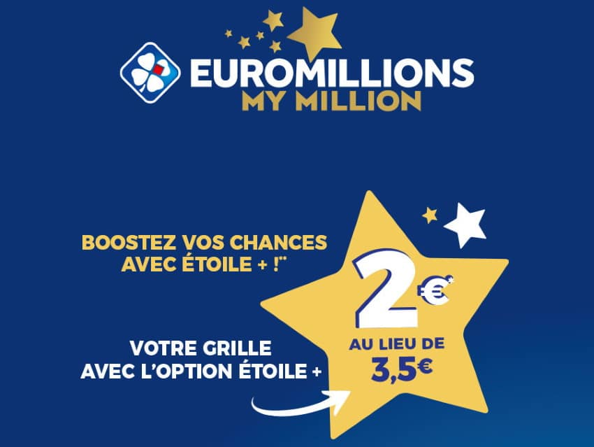 Grille d'Euromillions - My Million avec l'option Etoile+ à 2€ sur Shopmium
