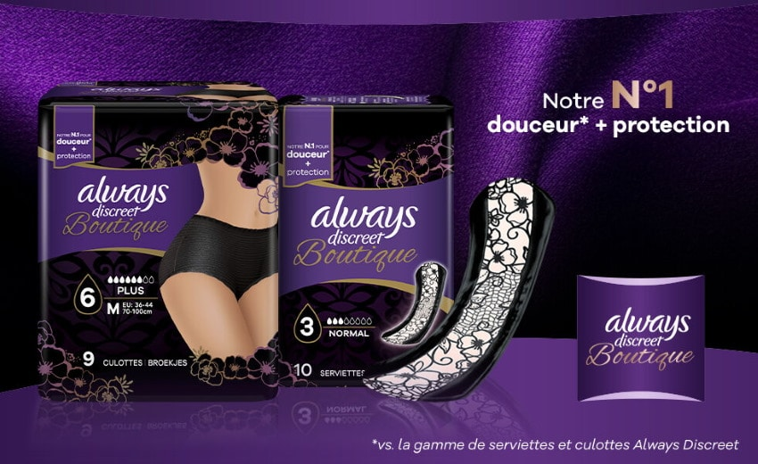 2 000 packs de protections Always Discreet Boutique en test gratuit sur Envie de Plus