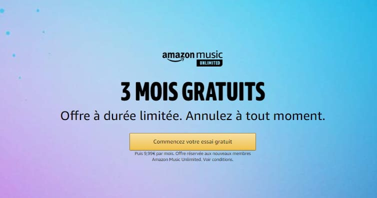 Amazon Music Unlimited gratuit pendant 3 mois