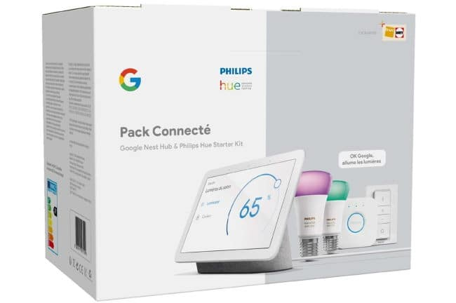 Pack Enceinte intelligente Google Nest Hub + Kit de démarrage Philips Hue à 169,99 € chez Darty