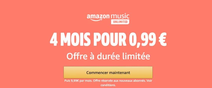Abonnement de 4 mois Amazon Music Unlimited pour 0,99 €