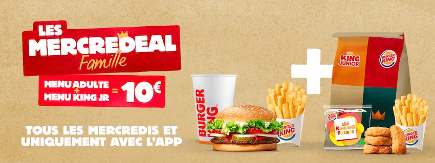 Un menu adulte et un menu King JR à 10 € chez Burger King