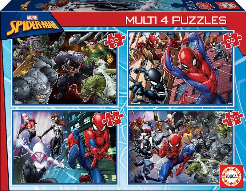 4 puzzles progressifs Spiderman 50 à 150 pièces à 5,29 € sur Amazon