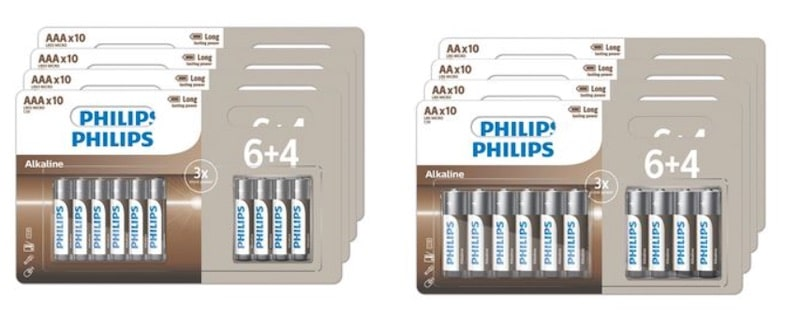 40 piles alcalines Philips AA ou AAA à 8,99 € sur Amazon